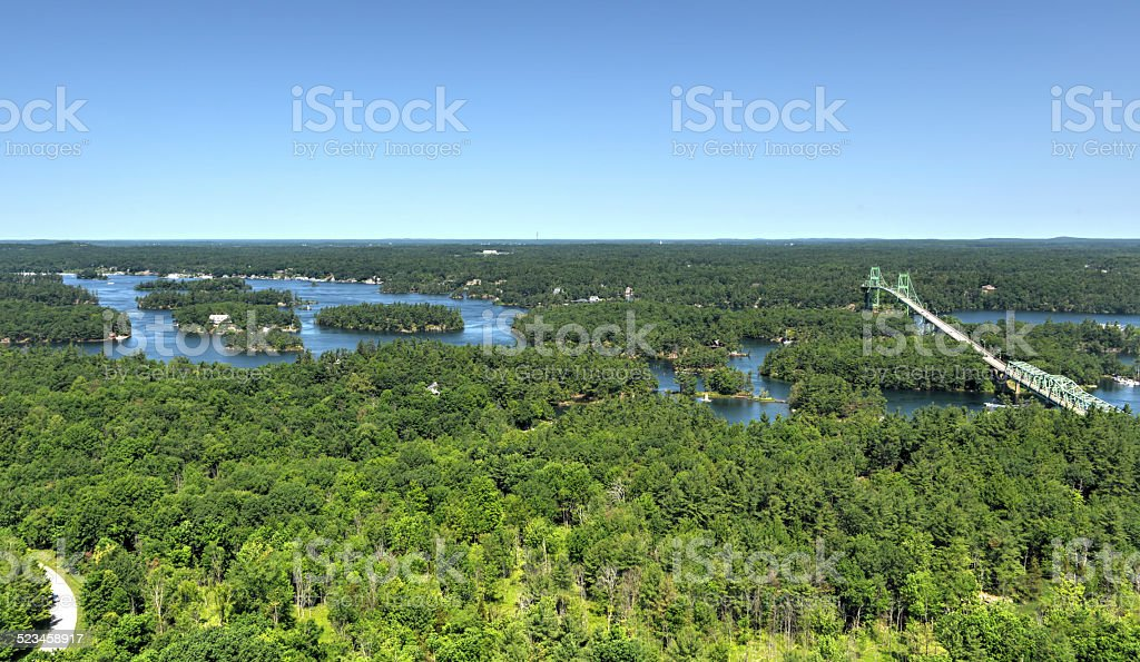 Thousand Islands Bridge from Above stock photo