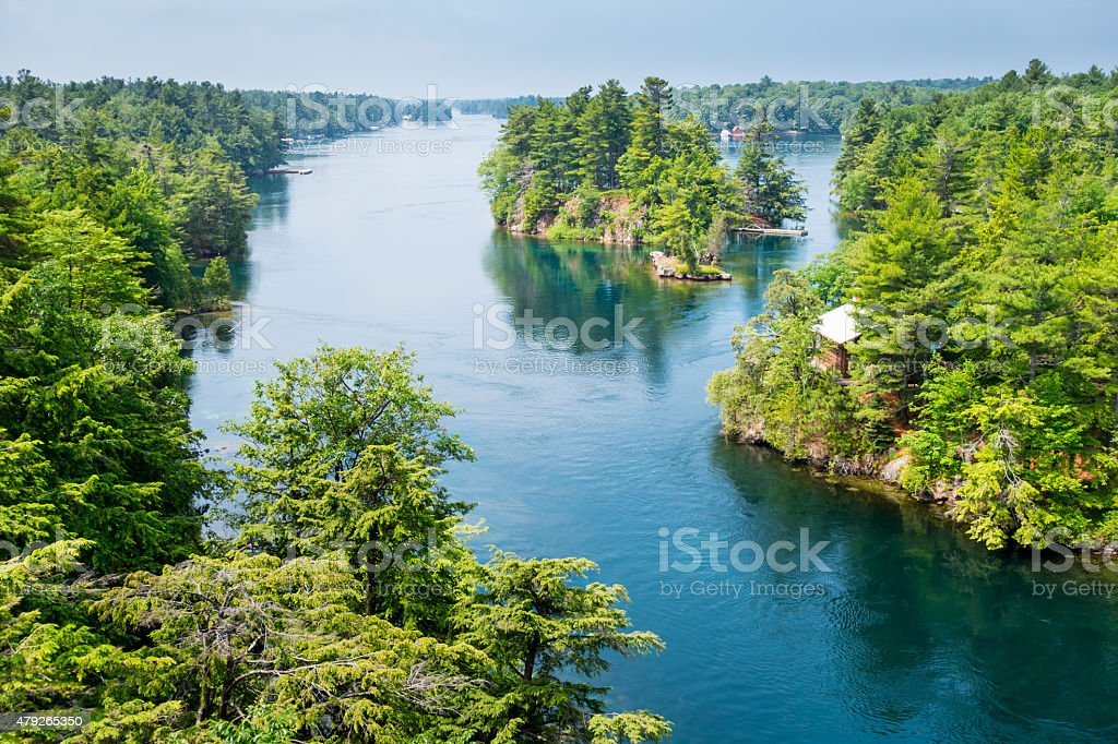 Thousand Islands New York State and Ontario Canada stock photo