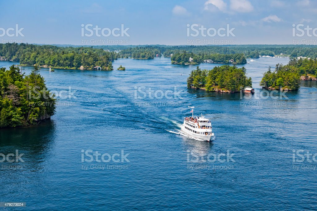 Thousand Islands Tour Boat New York State and Ontario Canada stok fotoğrafı