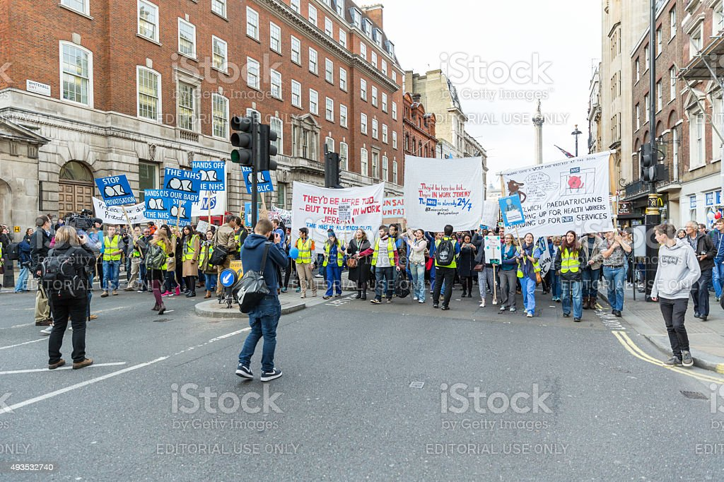 Thousands Junior doctors protest in London royalty-free stock photo