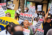 New York, New York, United States - August 23, 2014: Thousands of people protest against NYPD in Staten Island Over Eric Garner's Death.