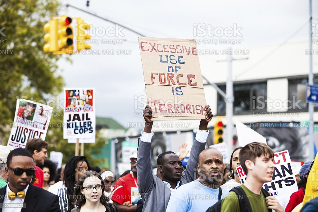 Thousands of people protest against NYPD in August 2014 stock photo