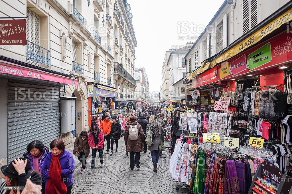 Thousands of people walk daily by this popular pedestrian area stock photo