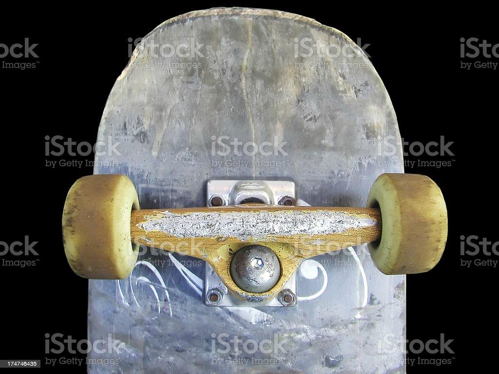 thrashed skateboard stock photo