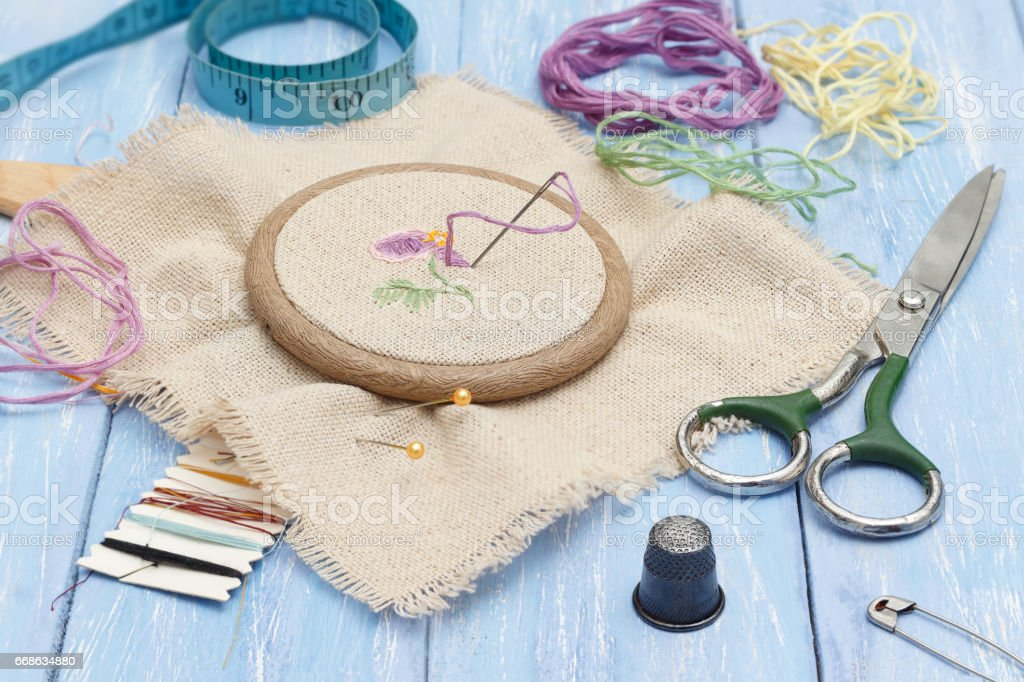 Thread And Linen Fabric In The Wooden Embroidery Frame For ...