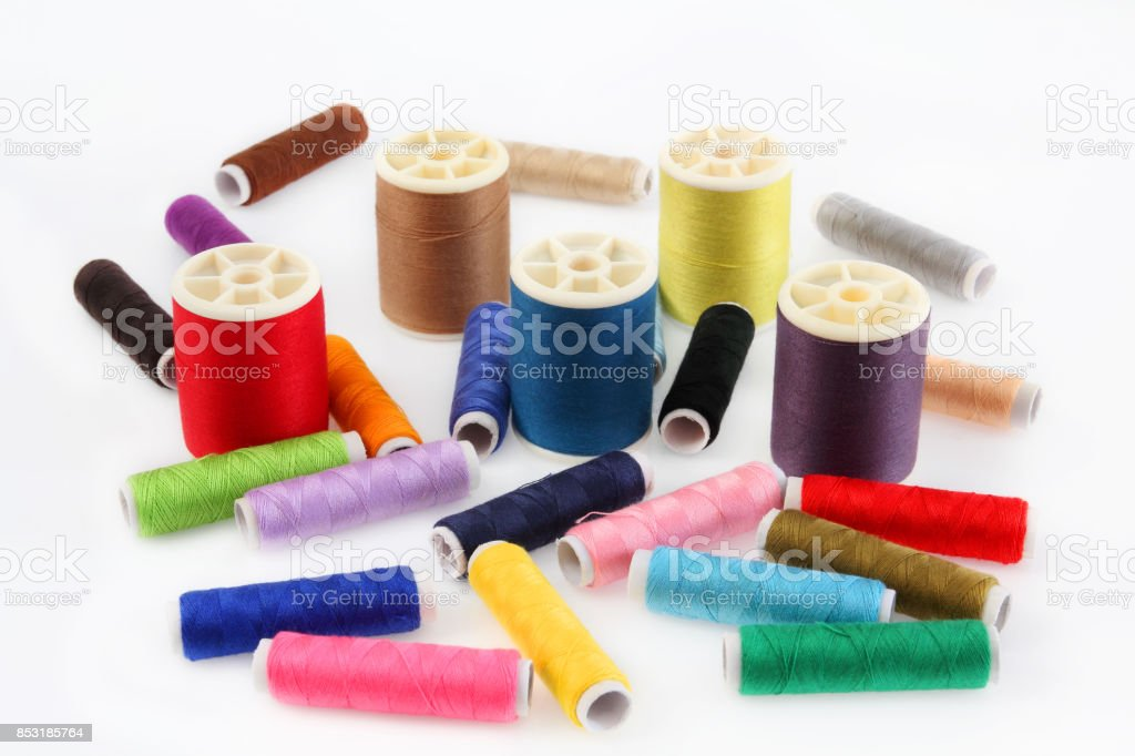 Thread multi color of relating to fabric. stock photo