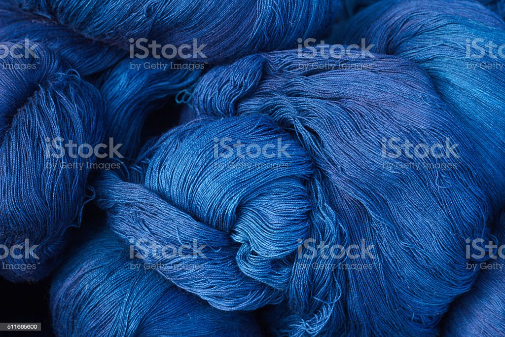 Thread of deep blue stock photo