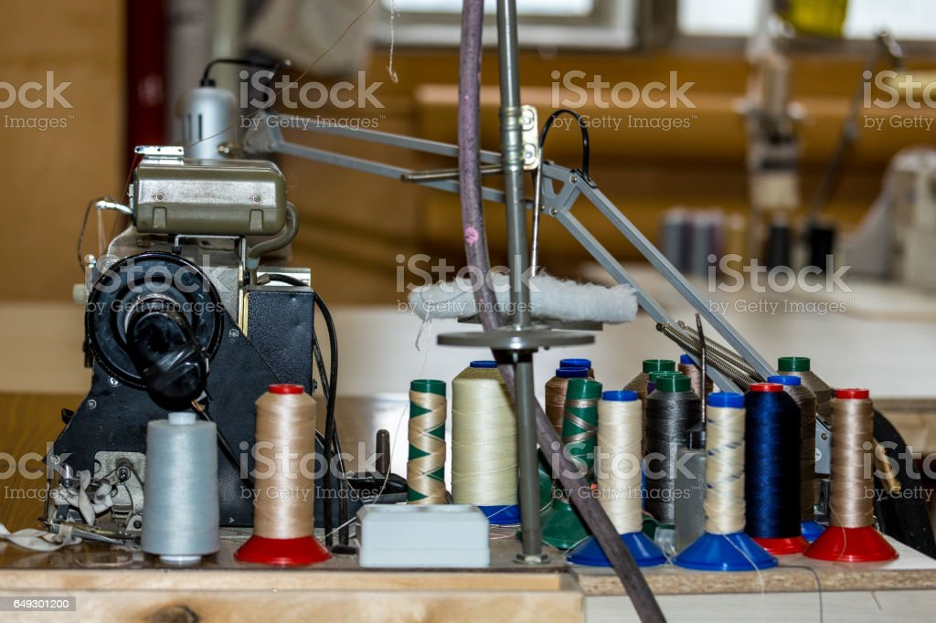 Thread on sewing machine royalty-free stock photo