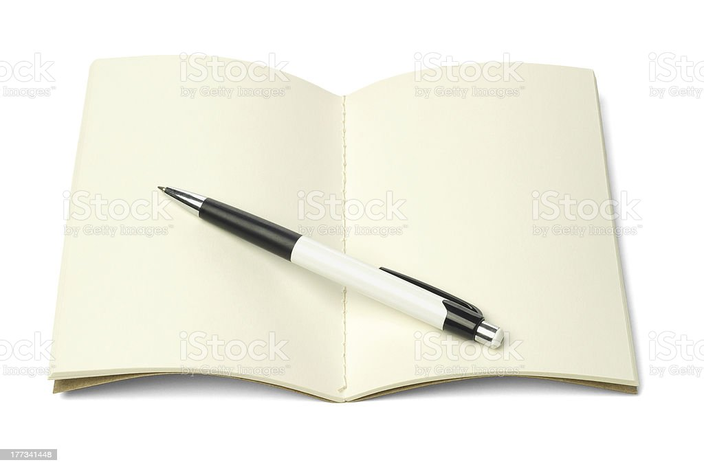 Thread Sew Book and Ball Point Pen royalty-free stock photo