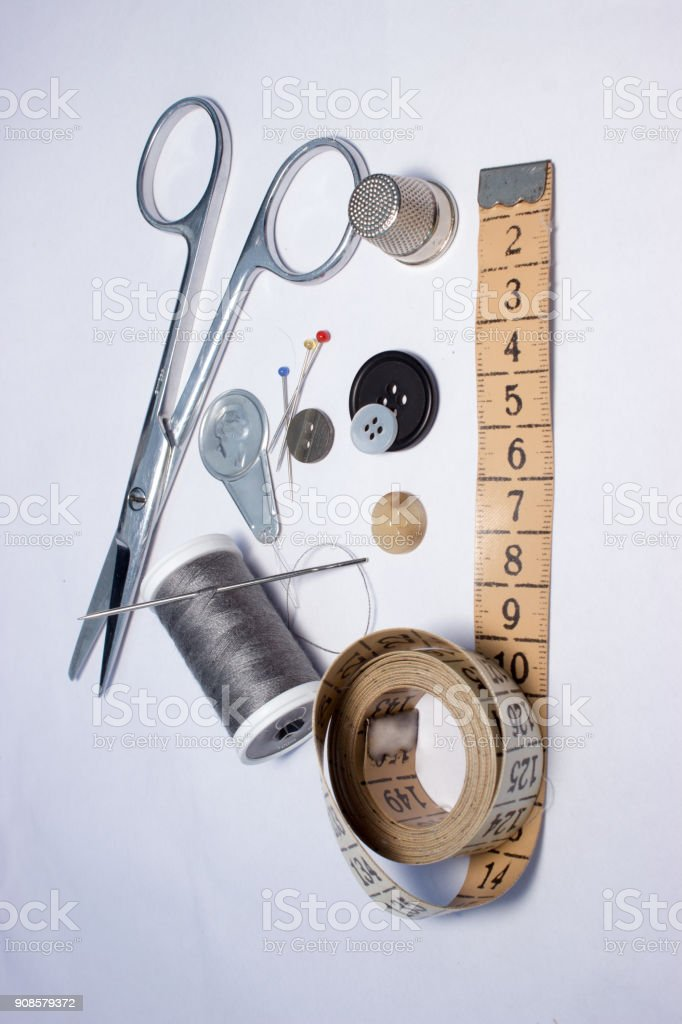 Thread, sewing and tools for handmade 3 stock photo