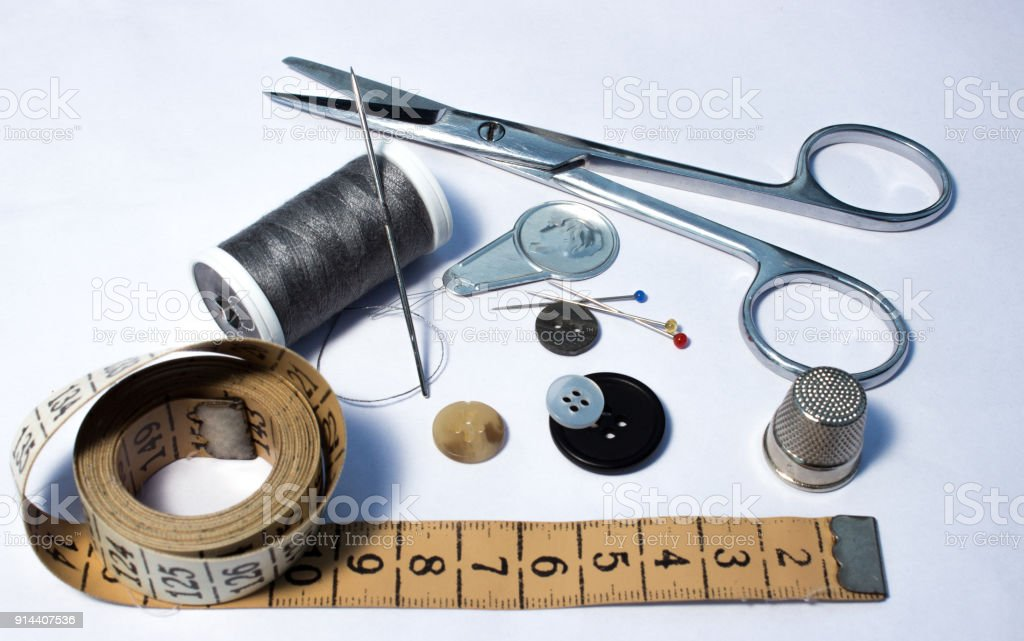 Thread, sewing and tools for handmade stock photo