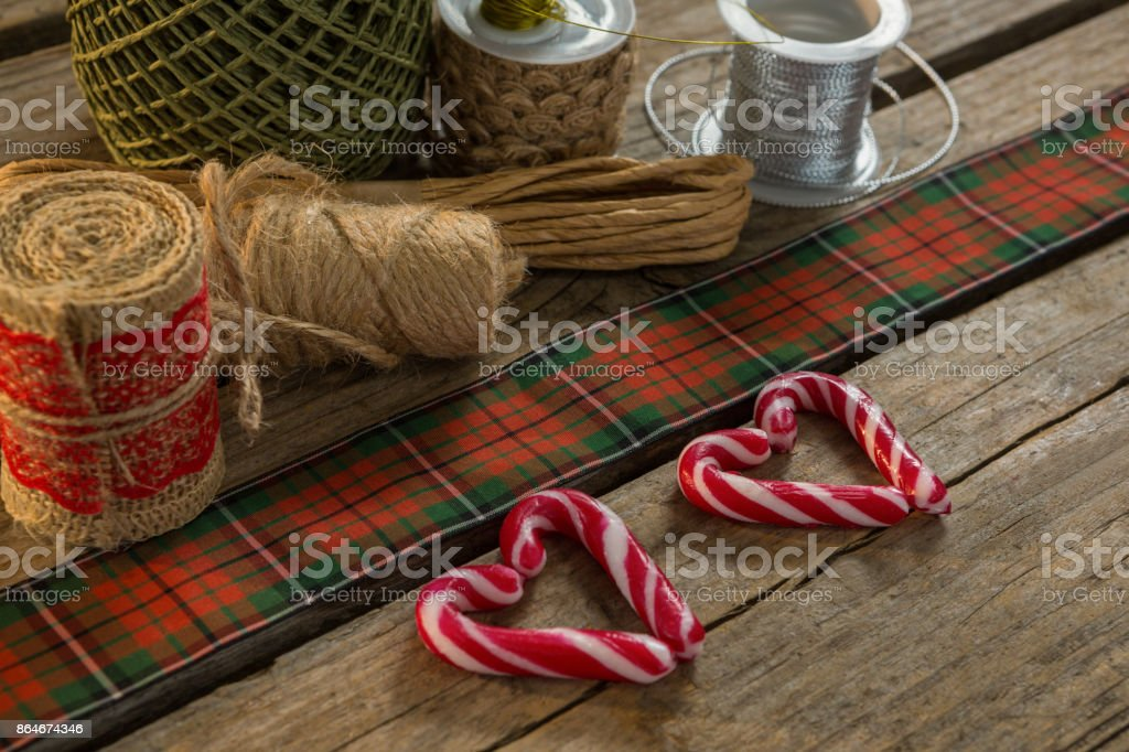 Thread spools with candy cane stock photo