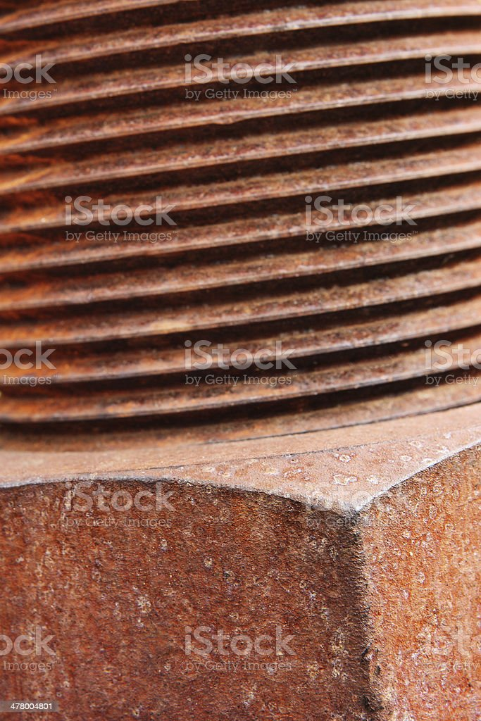 Threaded Bolt Nut Rusted Hardware royalty-free stock photo