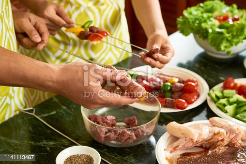 696841580istockphoto Threading meat on skewers 1141113467