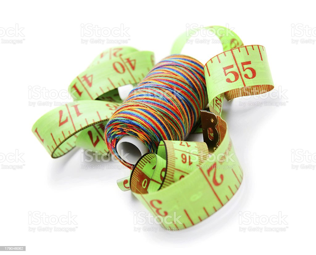 Threads and measuring roulette. royalty-free stock photo