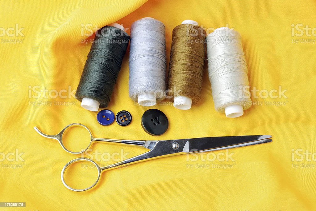 threads and scissors royalty-free stock photo