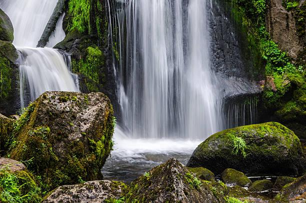 threads of water in waterfall triberg, germany - schwarzwald stock-fotos und bilder