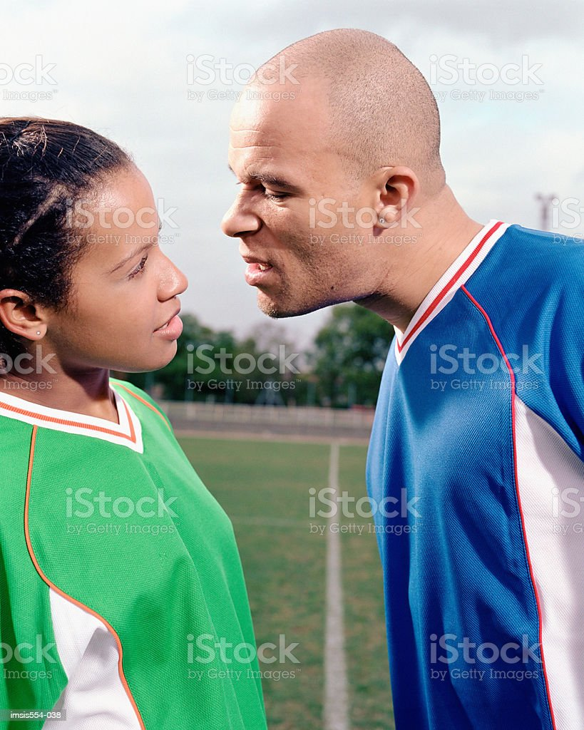 Threatening soccer player royalty-free stock photo