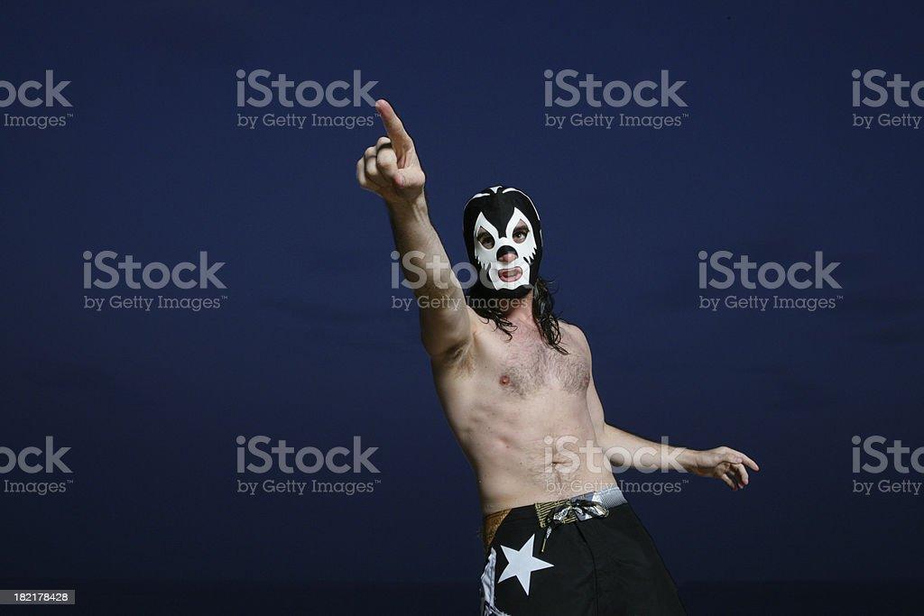 Threatening wrestler royalty-free stock photo