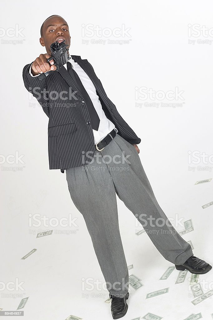 Threatining Man with a Gun royalty-free stock photo