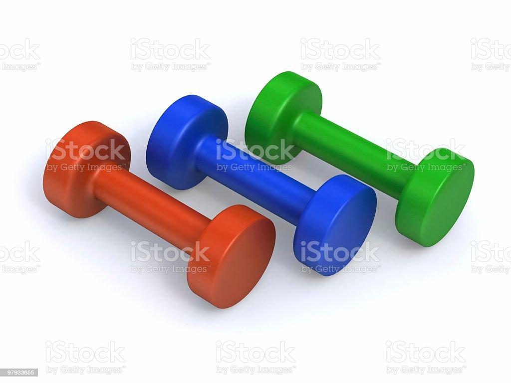 Tres 3D barra para pesas - foto de stock