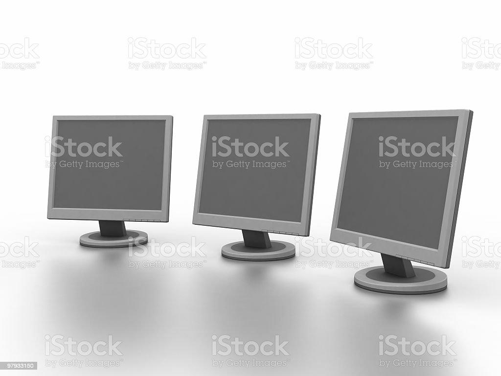 Three 3D monitors royalty-free stock photo