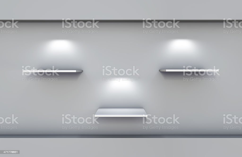 three 3d shelves and spotlights for exhibit royalty-free stock photo