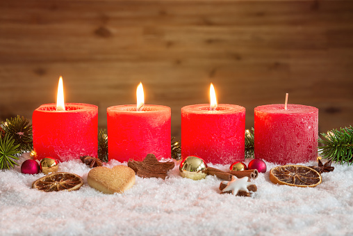 three advent candles lit in snow stock photo download. Black Bedroom Furniture Sets. Home Design Ideas
