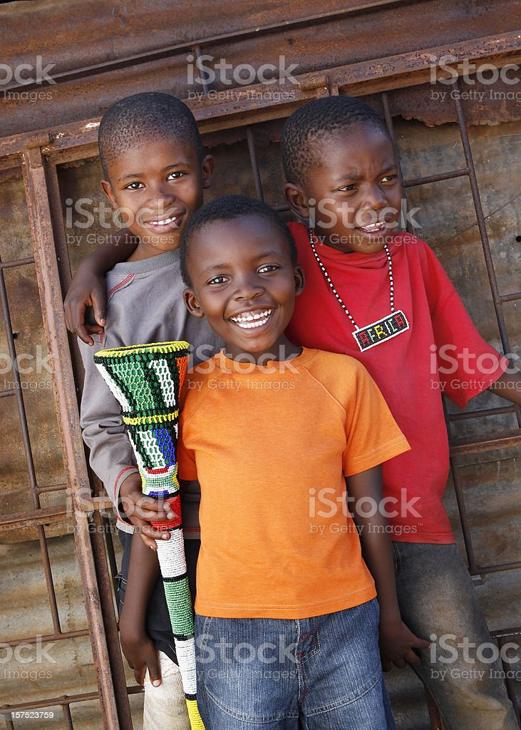 Three African Zulu children stock photo