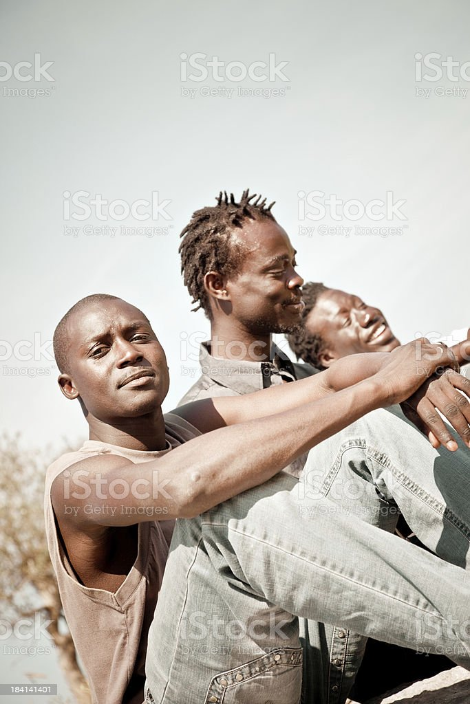 Three Africans Friends royalty-free stock photo
