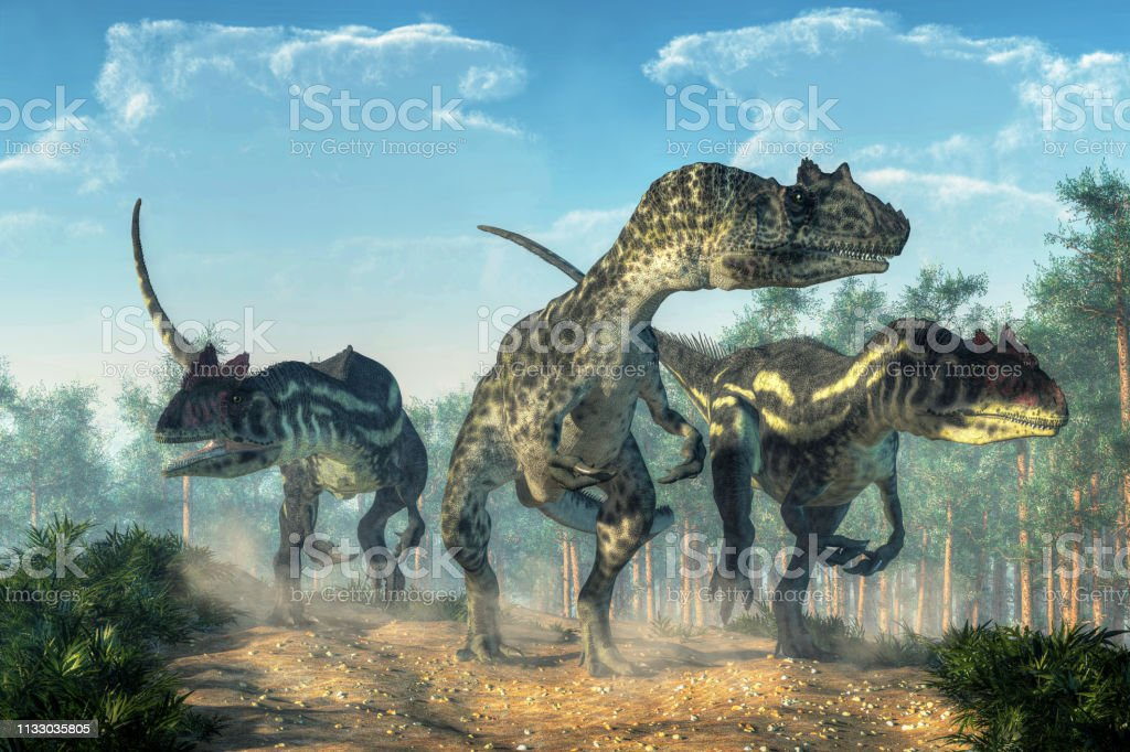 Three Allosauruses Three allosauruses kick up dust as they hunt along a rocky track created by the passage of large dinosaurs.  Three hunters on the prowl. 3D Rendering Allosaurus Stock Photo