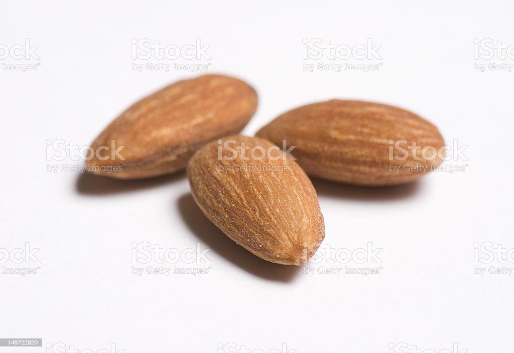 Three Almonds Close Up royalty-free stock photo