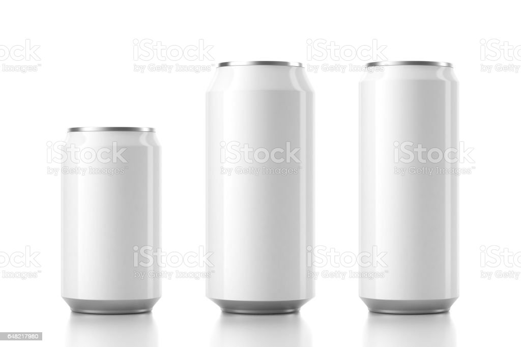 Three Aluminum White Can Mockup in different sizes. 3d rendering stock photo