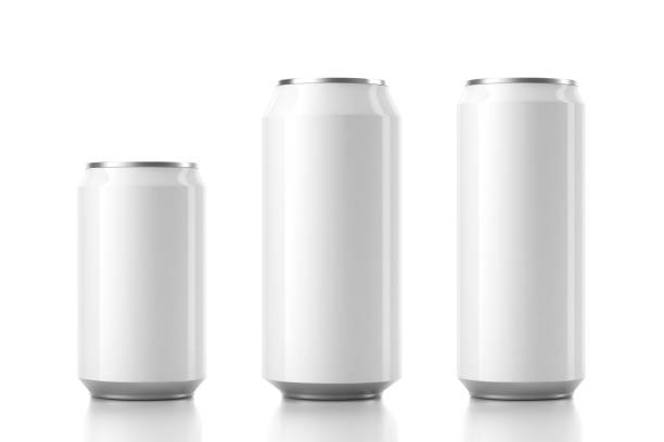three aluminum white can mockup in different sizes. 3d rendering - alluminio foto e immagini stock