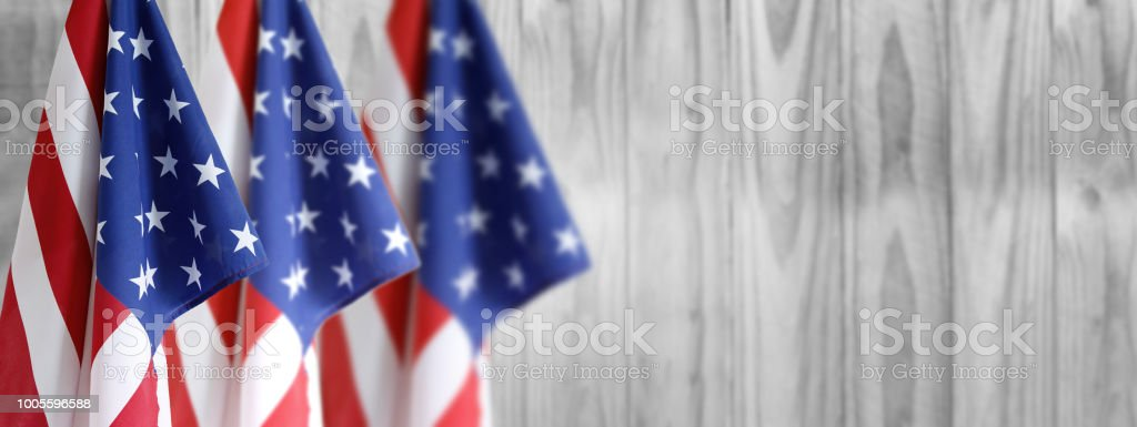 Three American flags stock photo