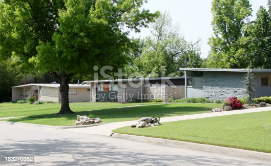 Three flat roof houses built in the 1950's are photographed in a neighborhood.