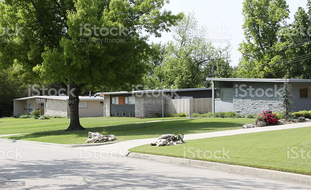 Three American Homes-Mid Century Flat Roof Houses stock photo
