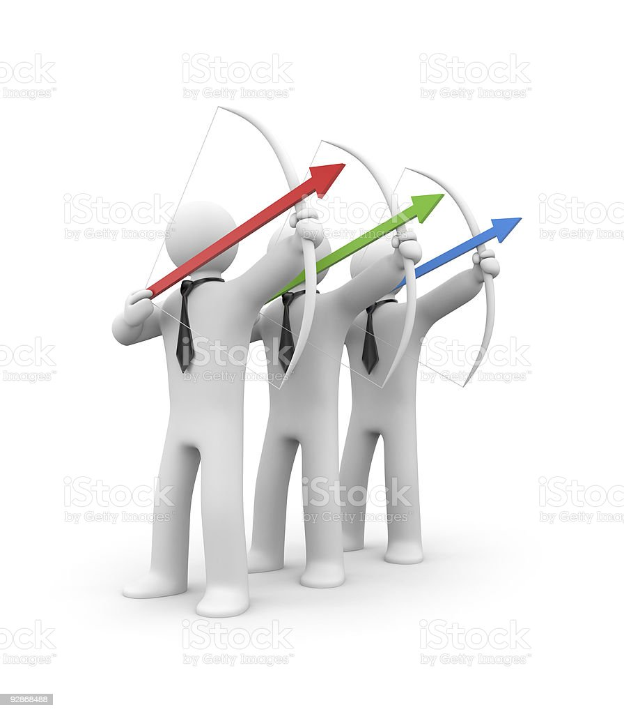 Three anonymous men wearing ties shooting a bow and arrow royalty-free stock photo
