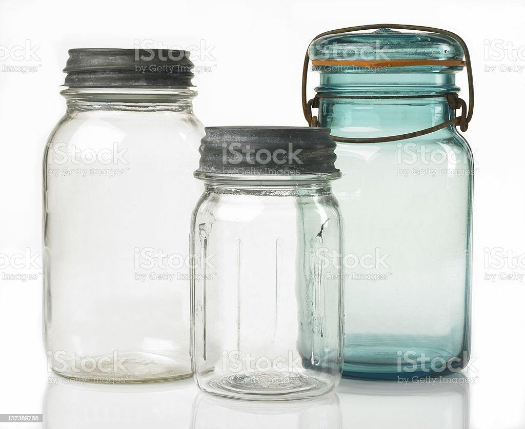 Three Antique Canning Jars royalty-free stock photo