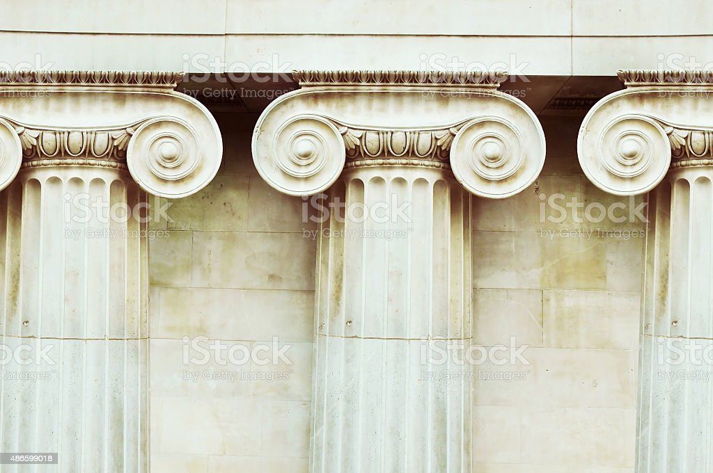 Three antique columns stock photo