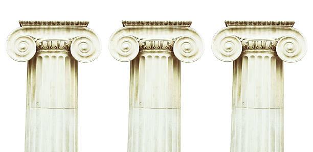 Three antique columns stock photo