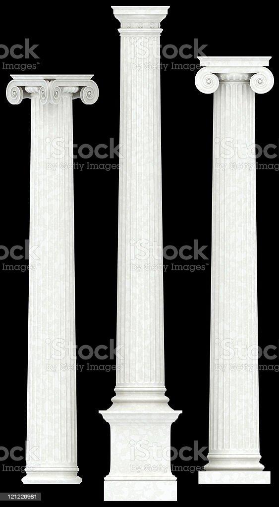 Three antique  columns. XXXL stock photo