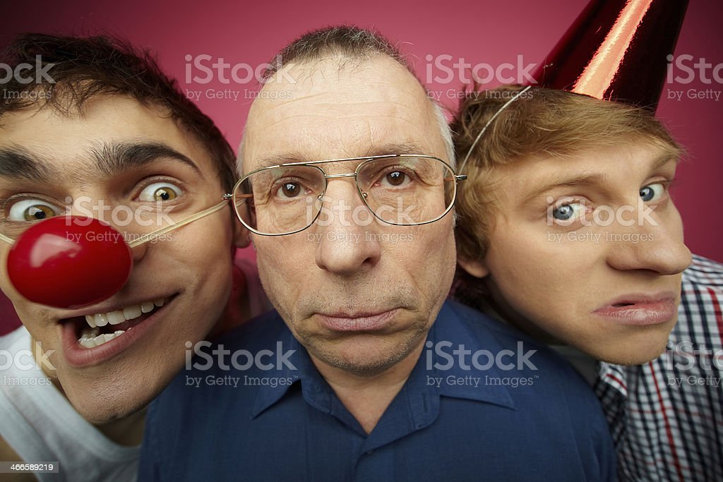 Three april fools stock photo