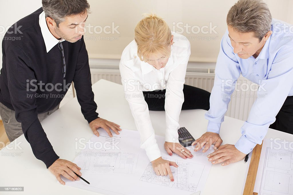 Three architects royalty-free stock photo