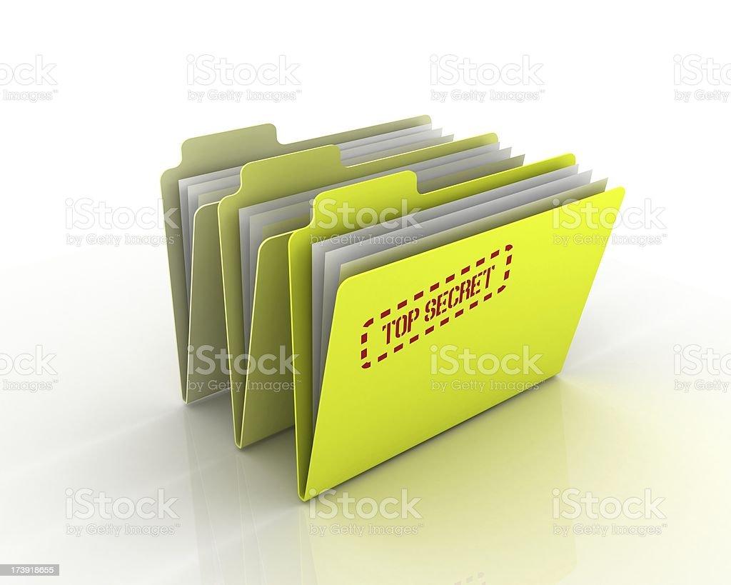 Three Archiving Folders - Top Secret royalty-free stock photo