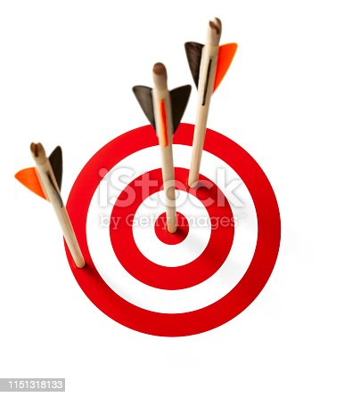 469652019 istock photo Three arrows hit the target on white background 1151318133