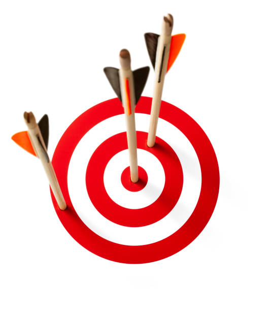 Three arrows hit the target on white background stock photo
