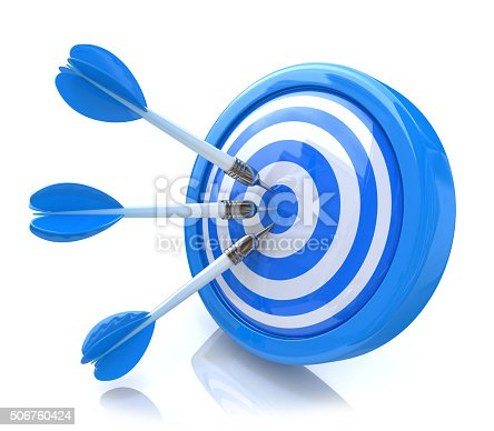 istock Three arrows in the center of a blue target. 506760424