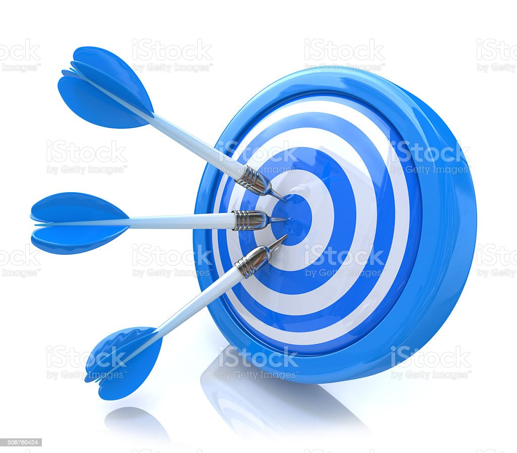 Three arrows in the center of a blue target. stock photo