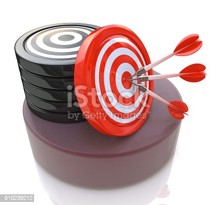 istock Three arrows in the center of a red target. 3d 510239212